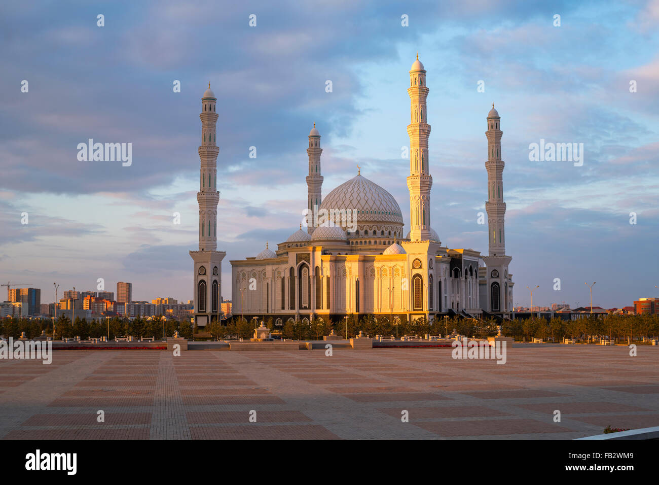 Central Asia, Kazakhstan, Astana, Hazrat Sultan Mosque, the largest in Central Asia, at dusk - Stock Image
