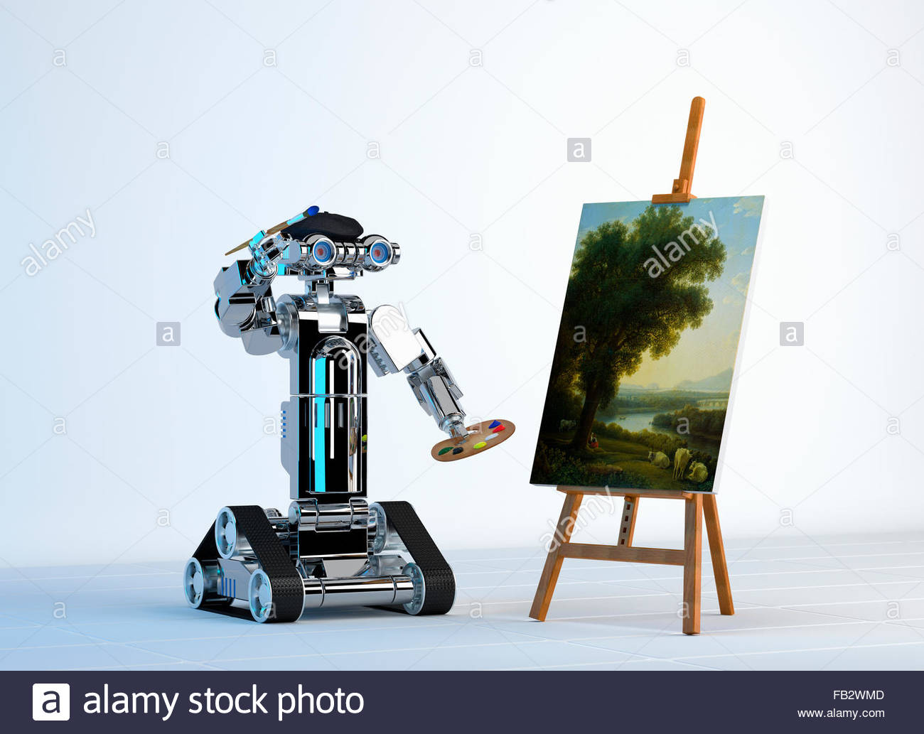Robot artist painting fine art at easel - Stock Image