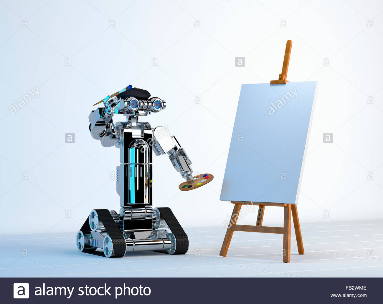 Robot artist painting with blank canvas on easel - Stock Image