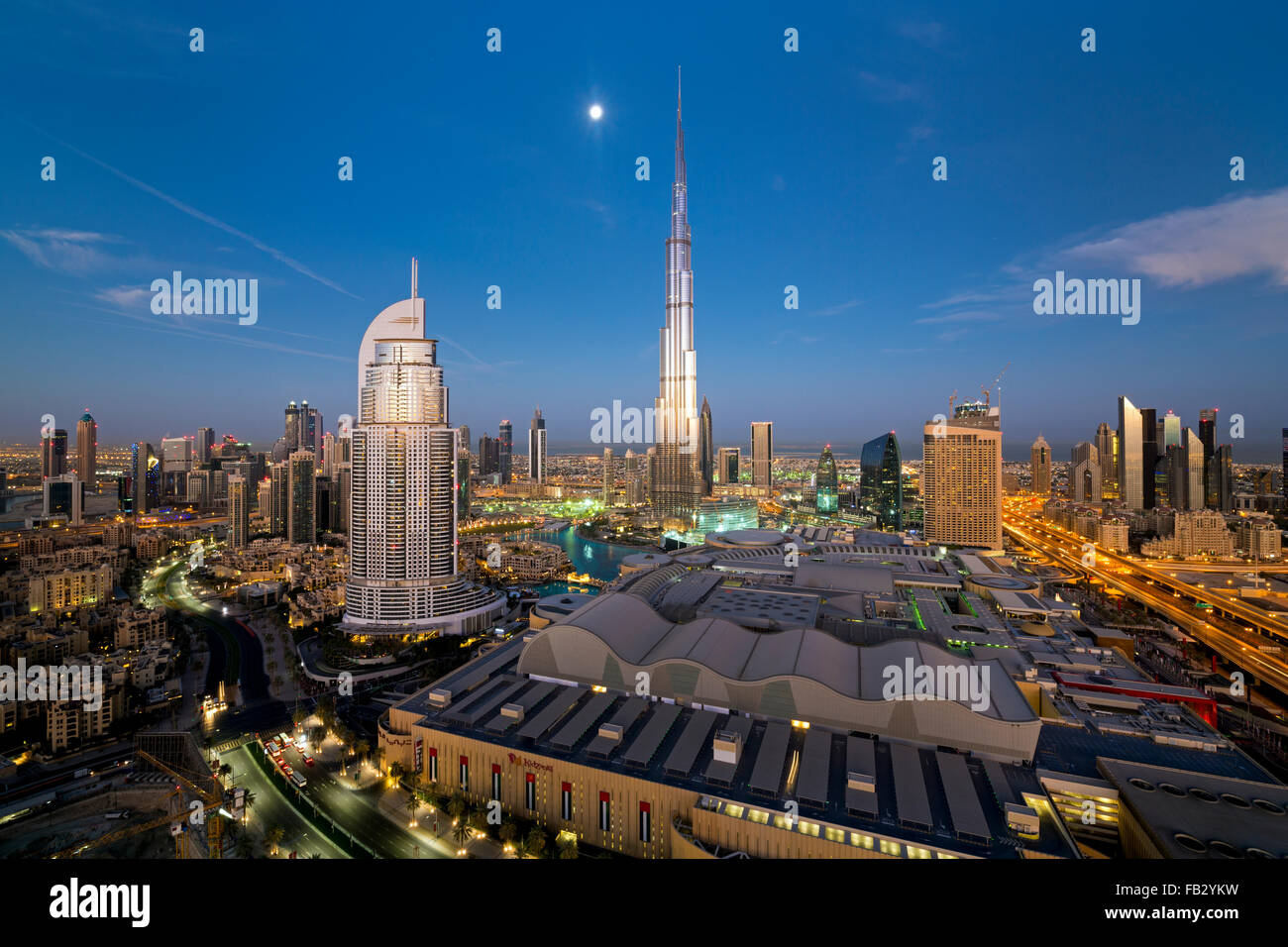 United Arab Emirates, Dubai, the Burj Khalifa, elevated view looking over the Dubai Mall - Stock Image