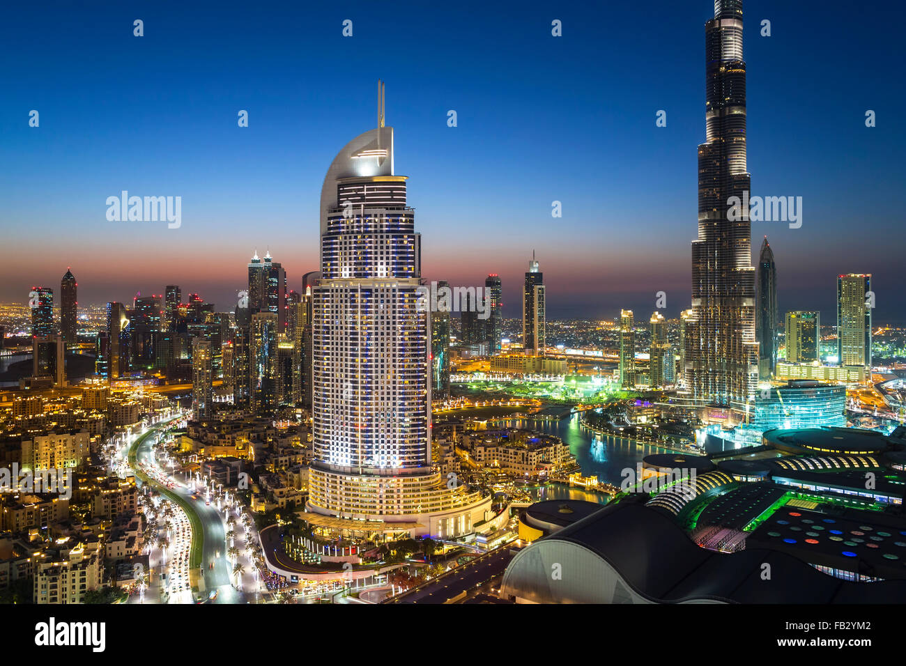 United Arab Emirates, Dubai, the Burj Khalifa, elevated view looking over the Dubai Mall - Stock Image