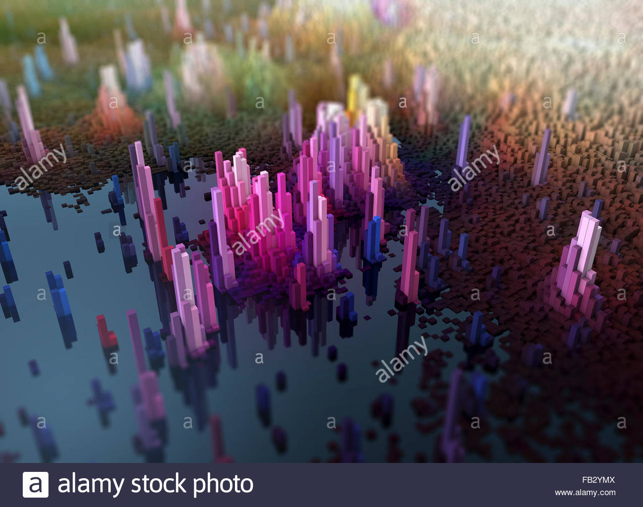 Abstract three dimensional city topography Stock Photo
