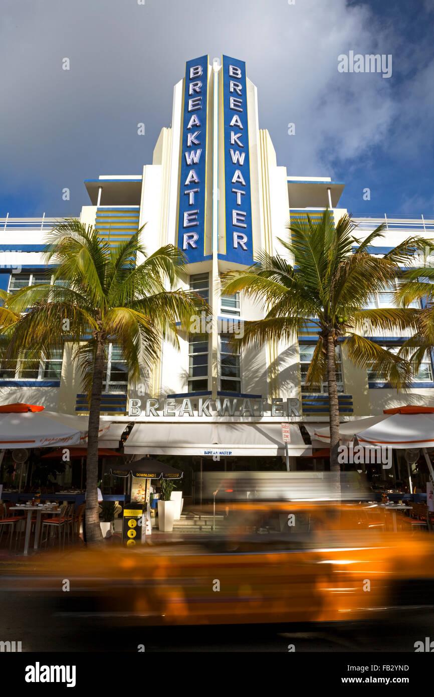 Art deco district, Ocean Drive, South Beach, Miami Beach, Miami, Florida, USA - Stock Image
