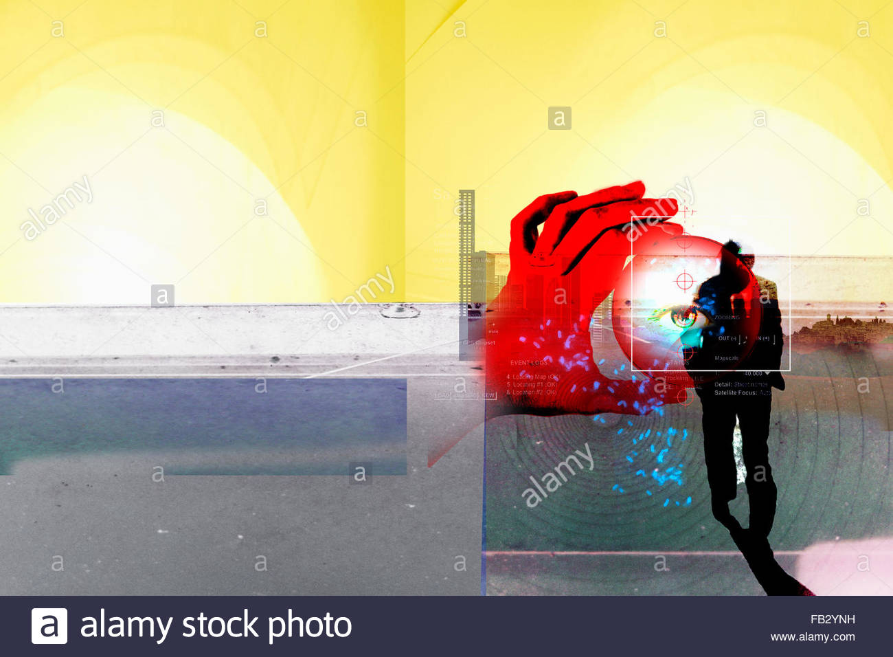 Global positioning system data and magnifying glass with human eye over businessman walking - Stock Image