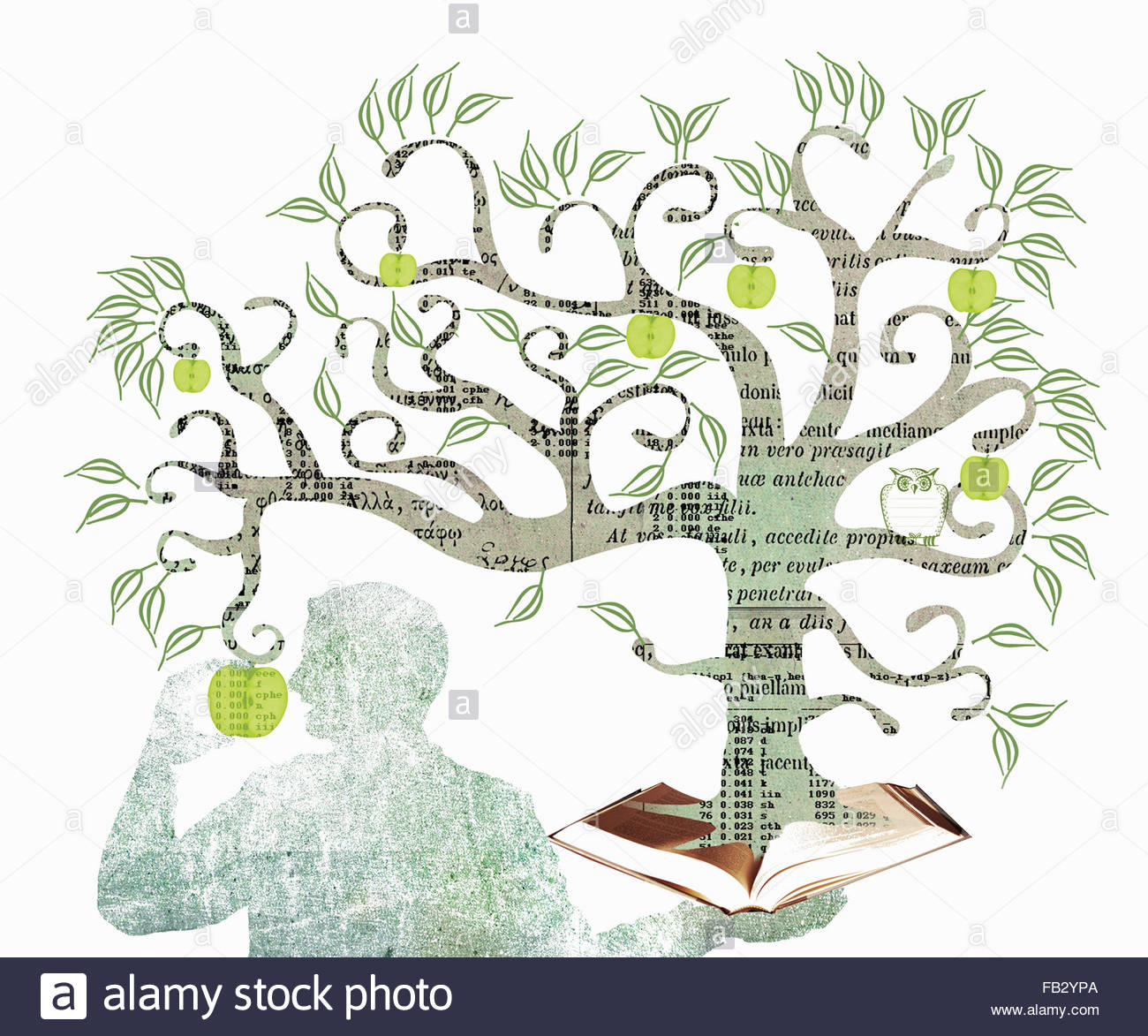 Man eating apple from the tree of knowledge growing out of book - Stock Image