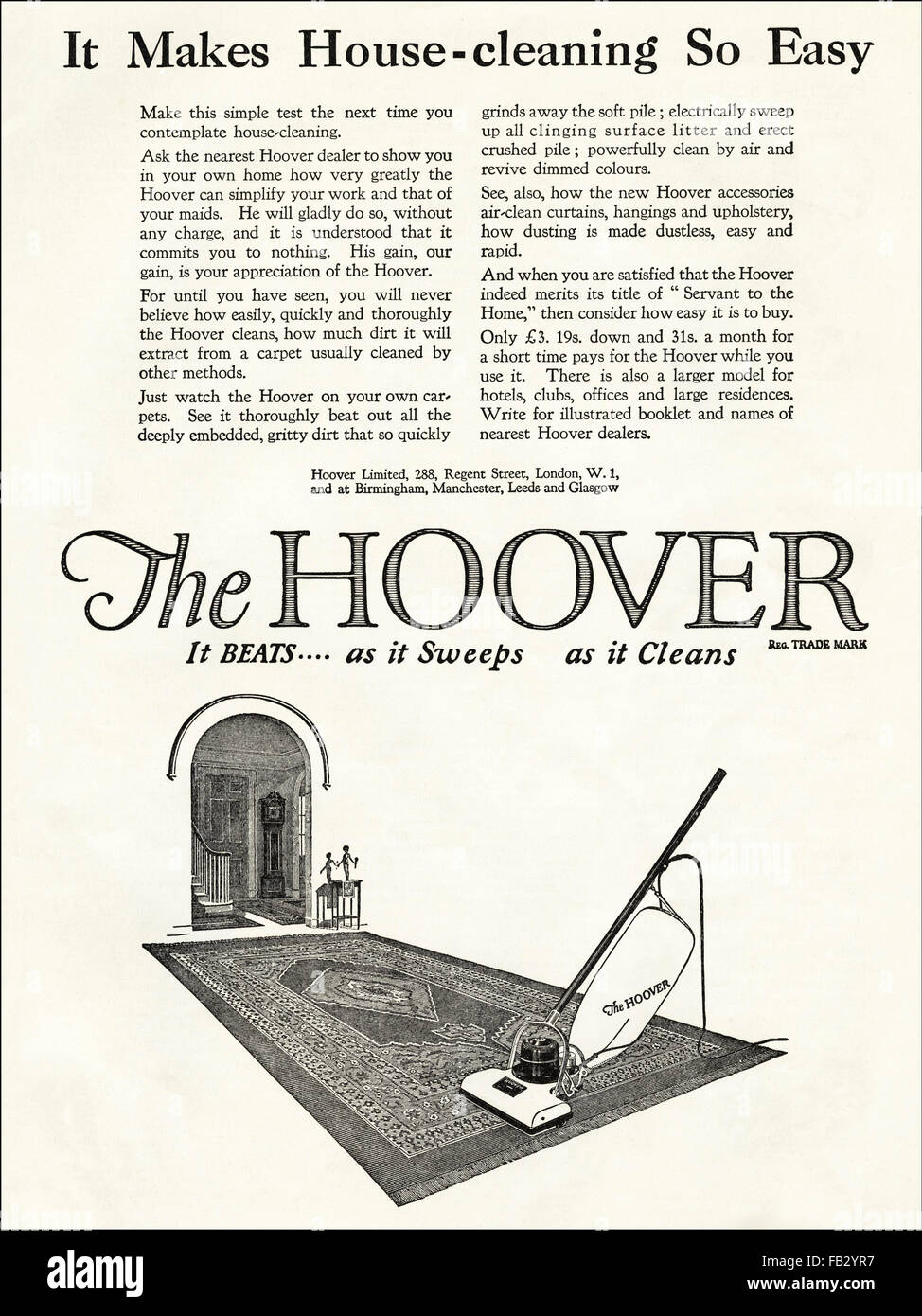 Original vintage advert from 1920s. Advertisement from 1923 advertising The Hoover upright vacuum cleaner, 20s Stock Photo