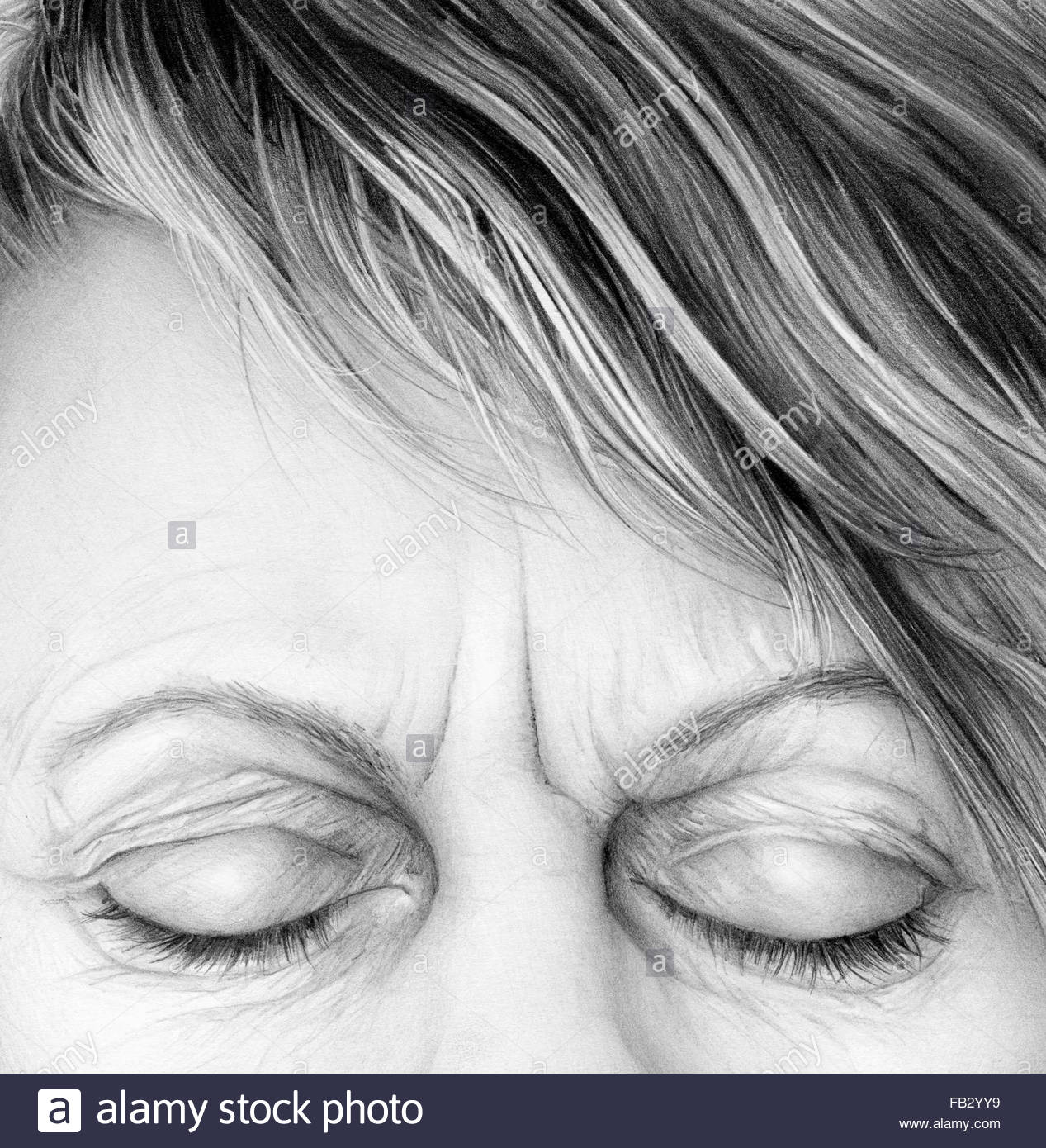 Close Up Of Pencil Drawing Of Woman Frowning With Eyes Closed Stock