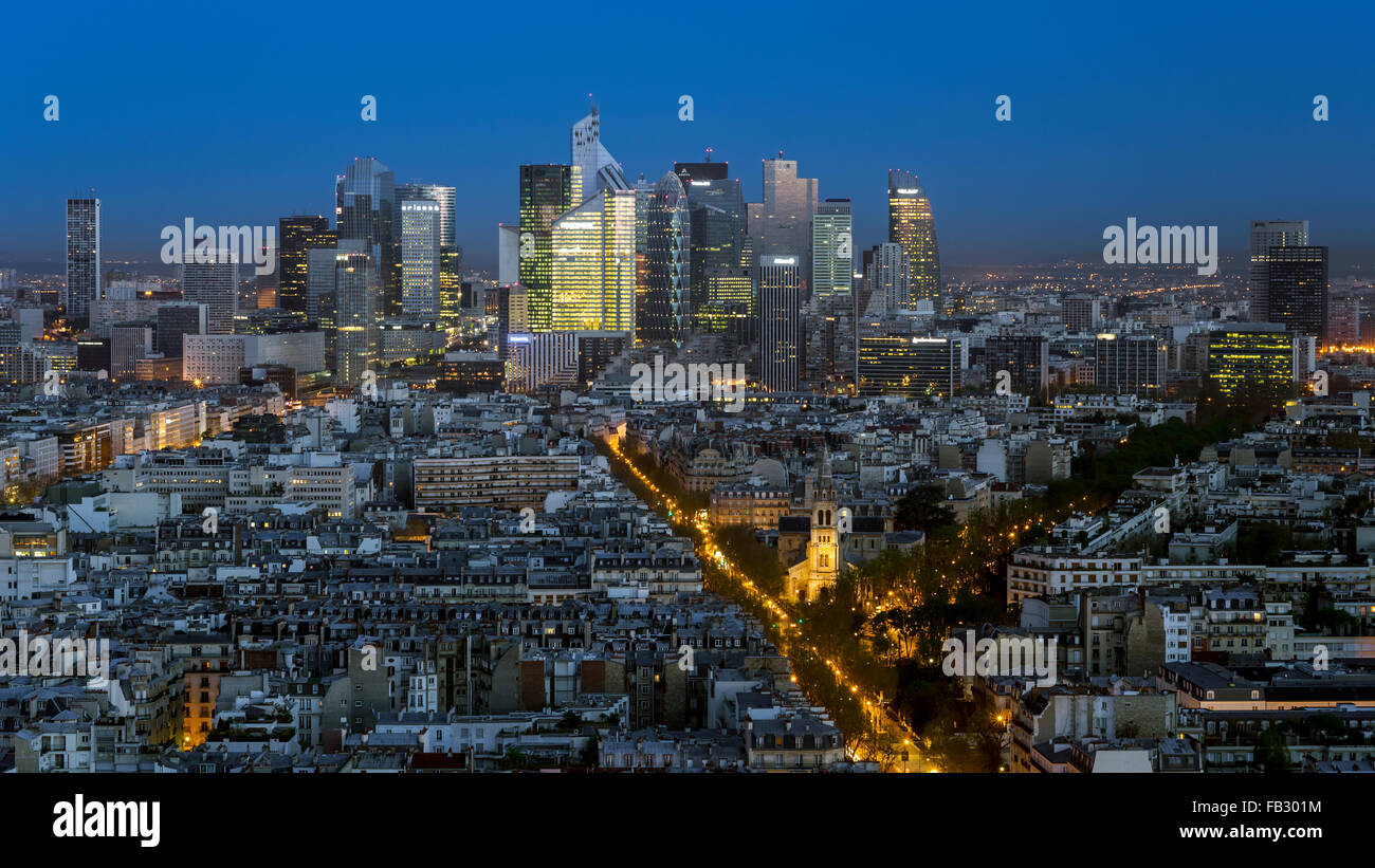 Elevated view of Paris with La Defense business district skyline, France, Europe - Stock Image