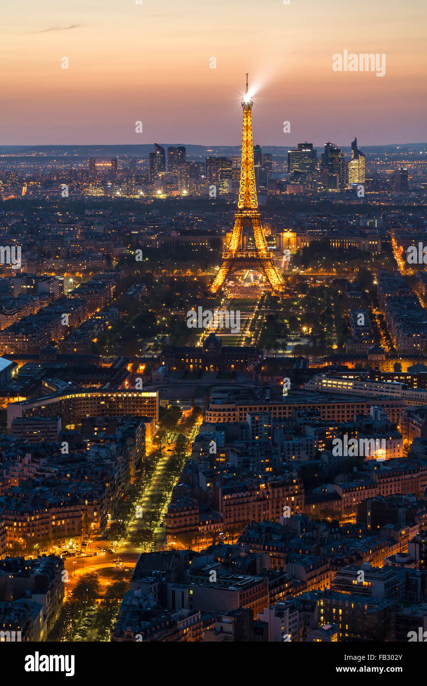 Paris elevated night city skyline with illuminated Eiffel tower, France, Europe Stock Photo