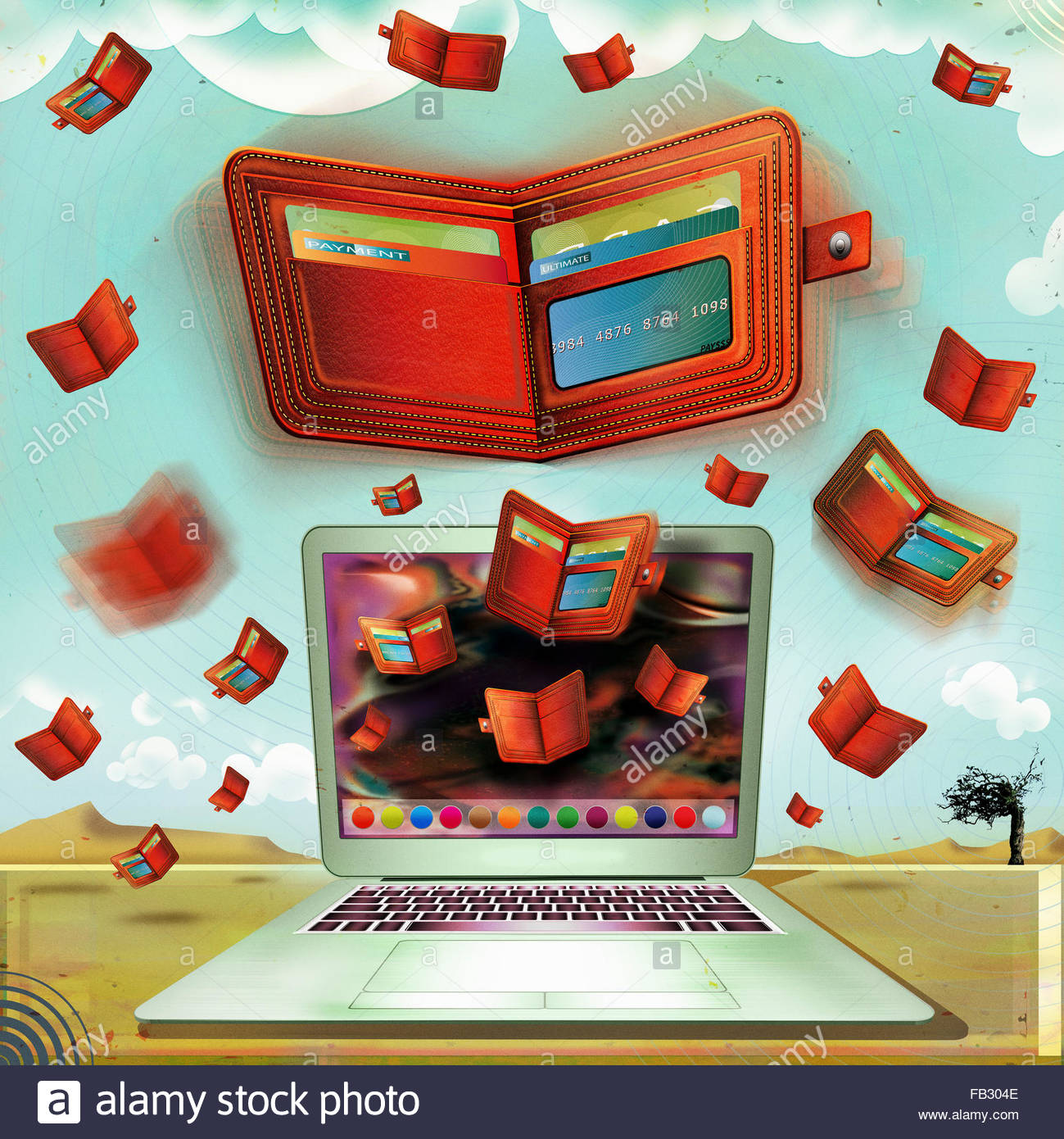 Lots of red wallets and credit cards flying from laptop computer monitor - Stock Image