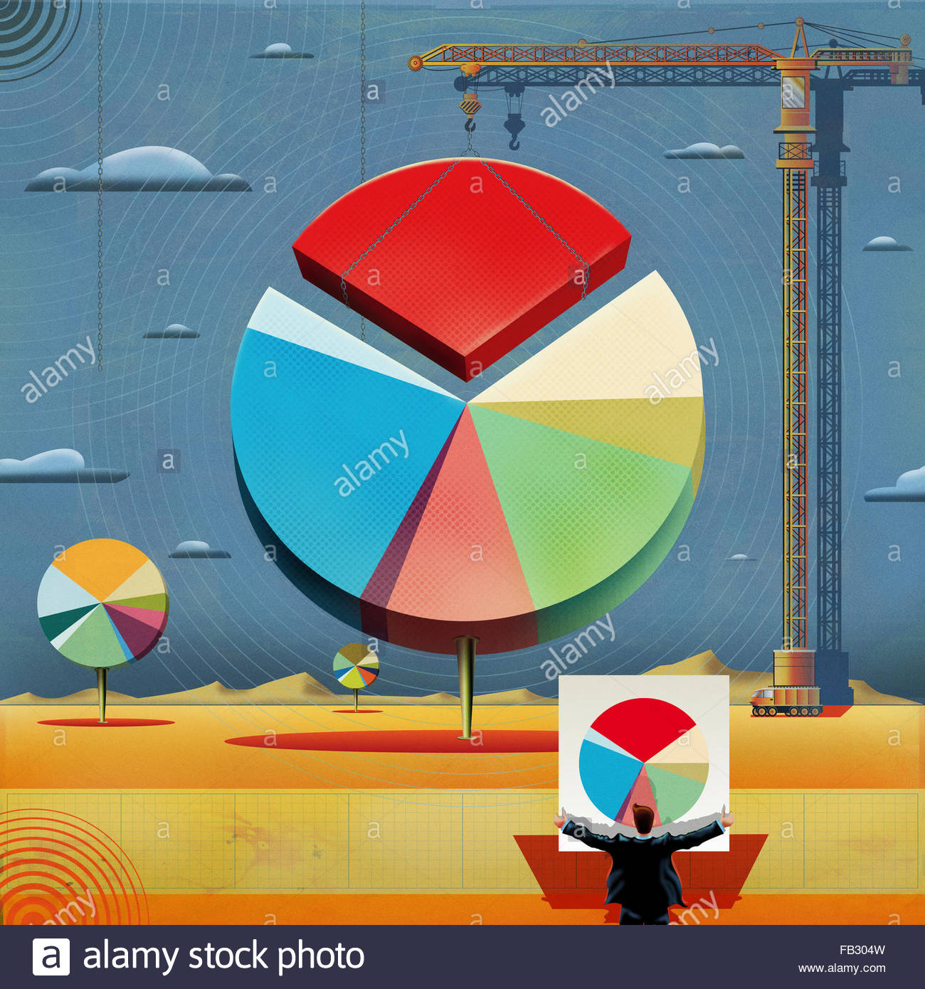 Businessman holding plan while crane moves large pie chart piece - Stock Image