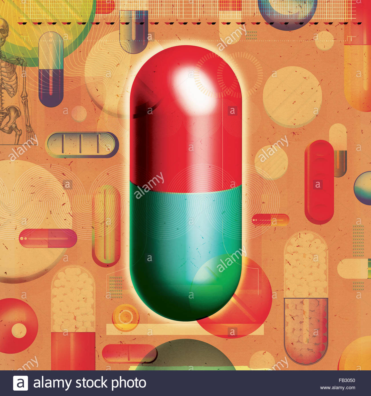 Large capsule standing out from the crowd of various pills and medicine - Stock Image