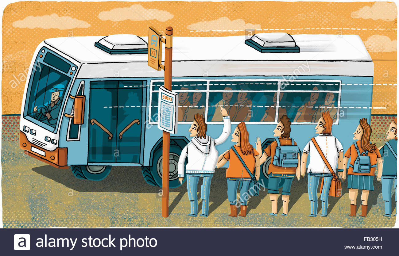 Bus driving past and ignoring students queuing at bus stop - Stock Image