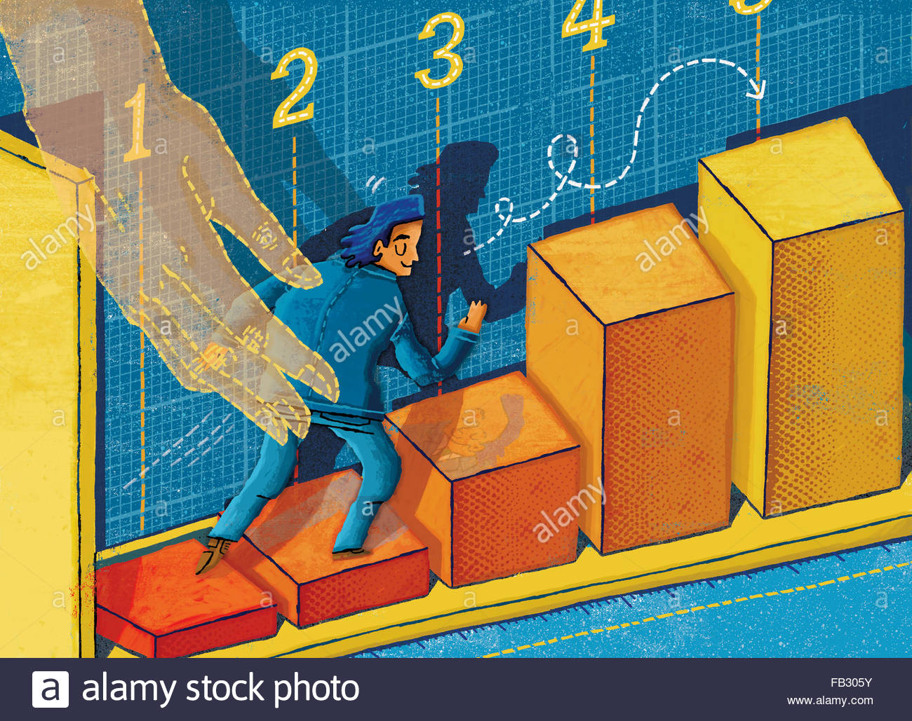 Businessman climbing rising bar chart with assistance of helping hand - Stock Image