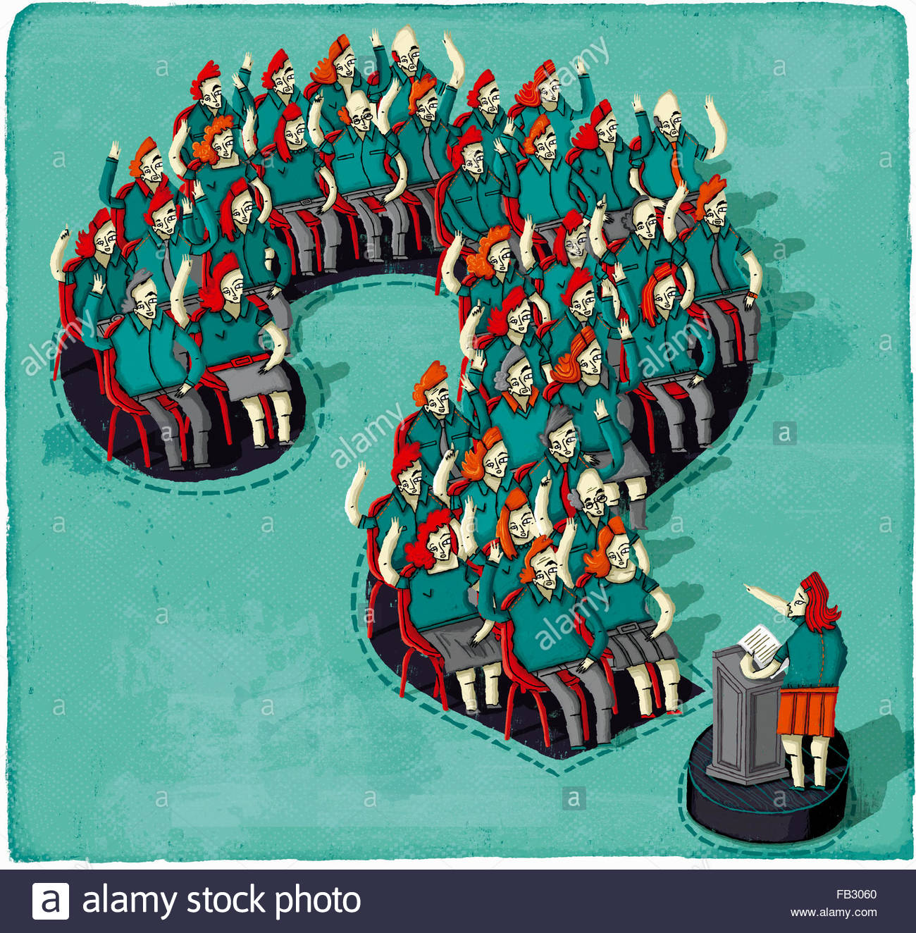 Public speaker and audience in question and answer session inside of question mark - Stock Image