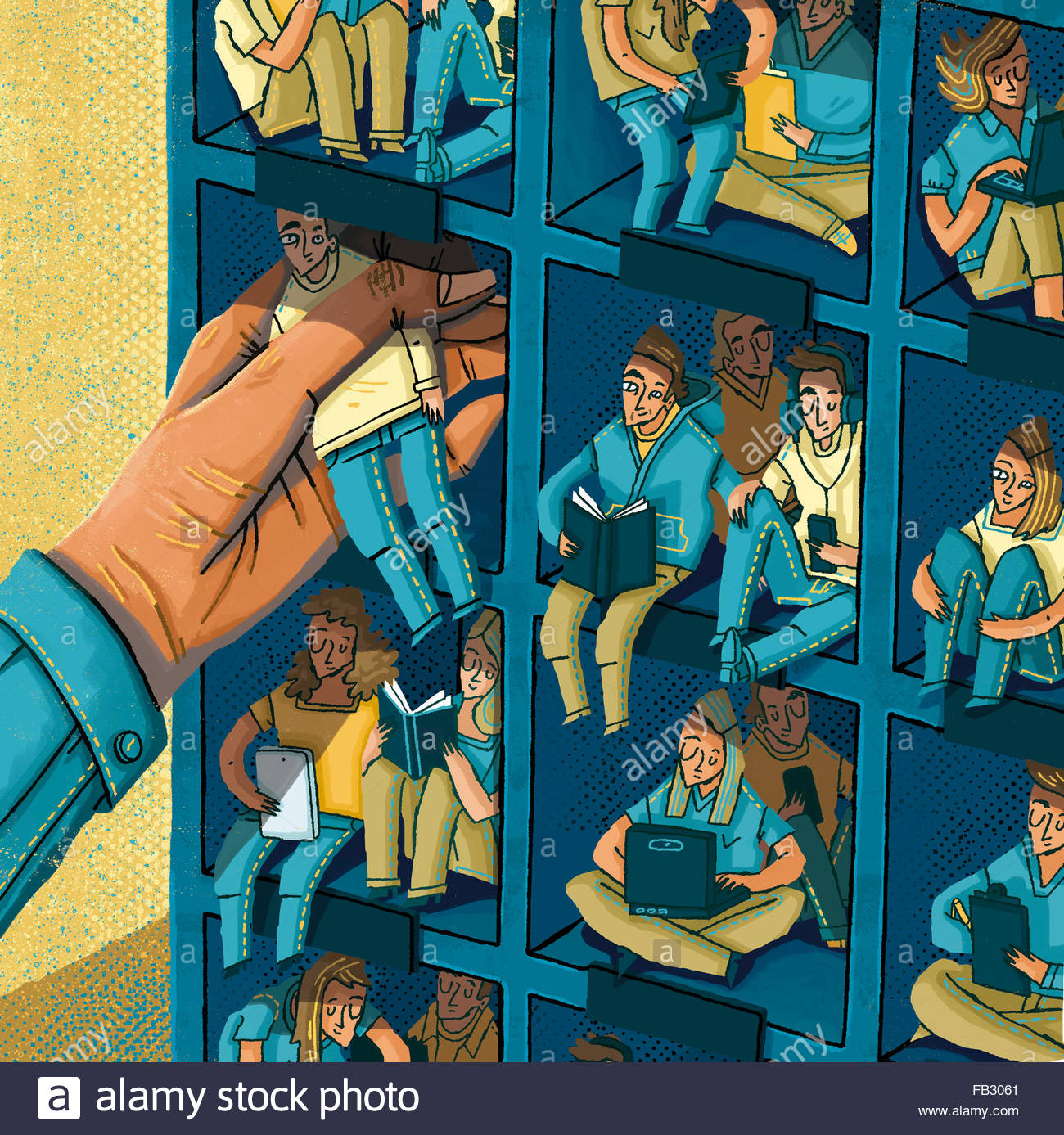 Large hand arranging students in pigeon holes - Stock Image