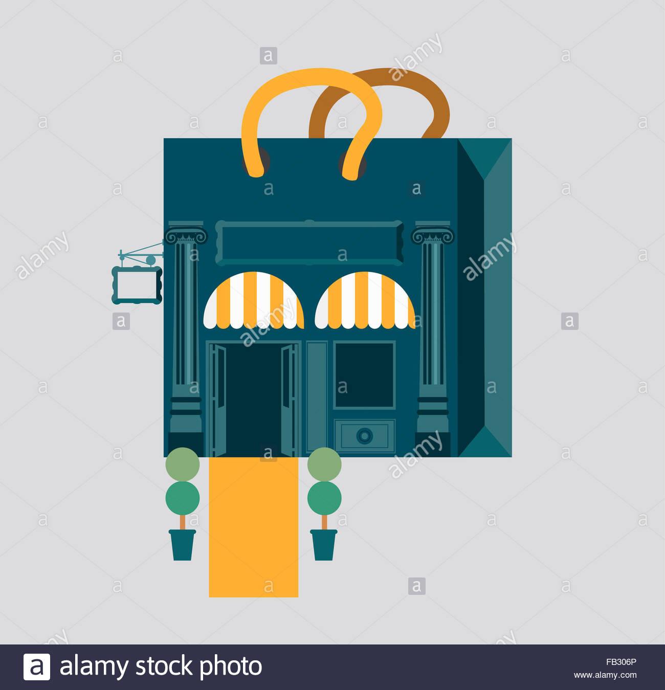 Luxury boutique shop façade shopping bag - Stock Image