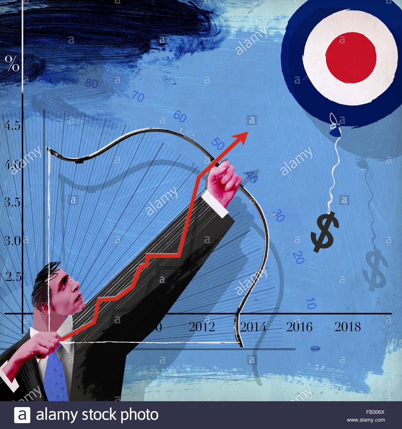 Businessman aiming bow and arrow at dollar sign balloon target on increasing line graph - Stock Image