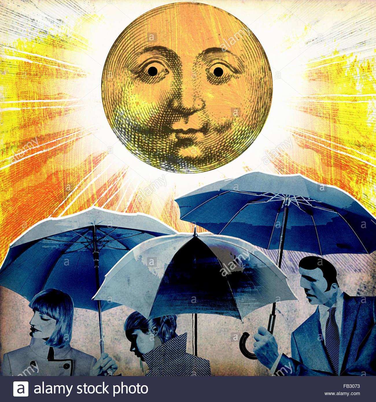Gloomy businesspeople holding umbrellas oblivious to sunshine - Stock Image
