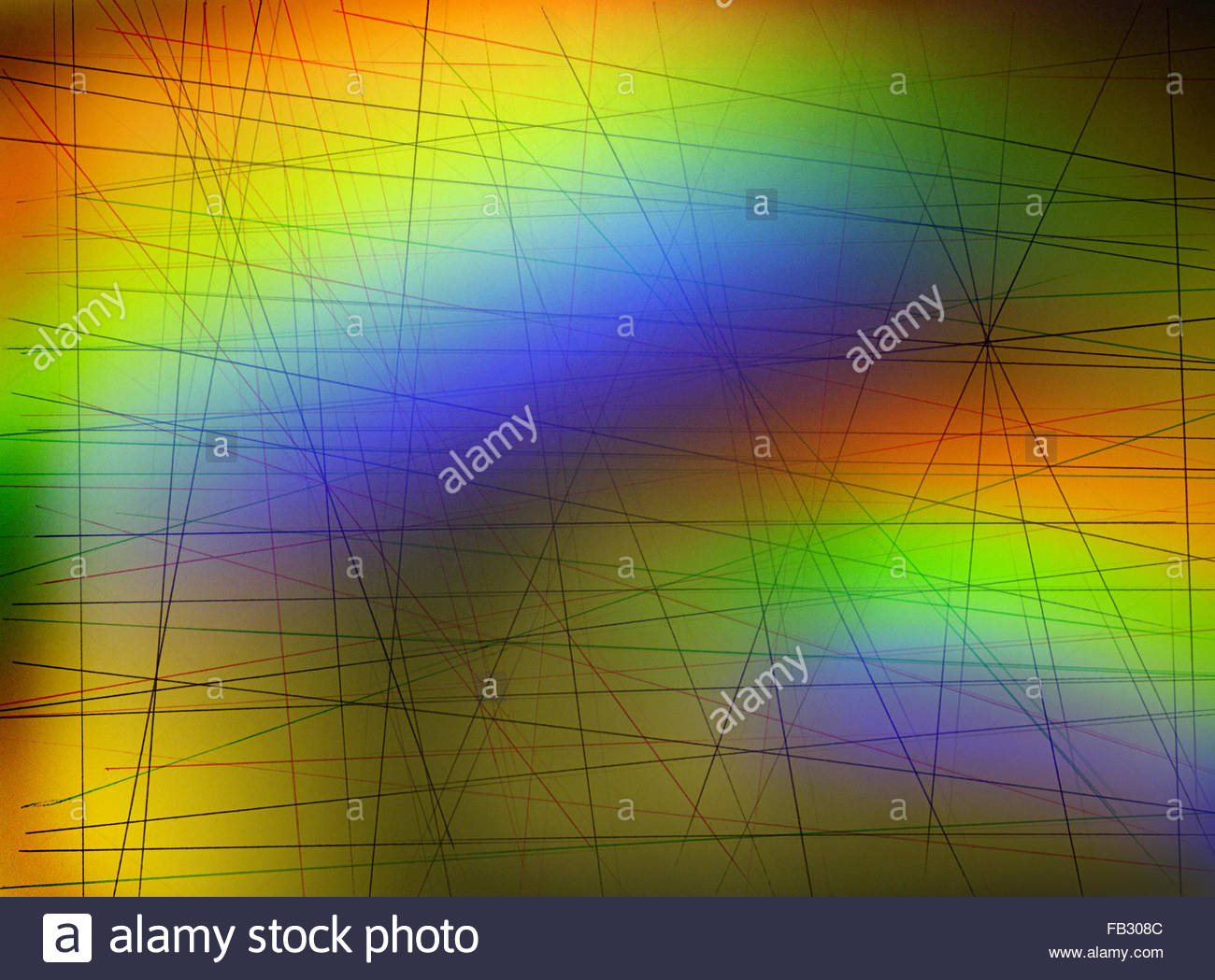 Abstract network of intersecting lines on rainbow background - Stock Image