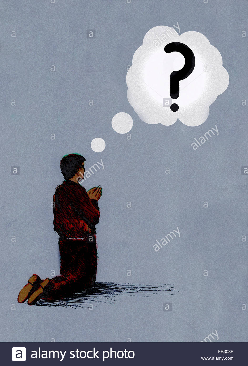 Man kneeling praying with question mark thought bubble - Stock Image