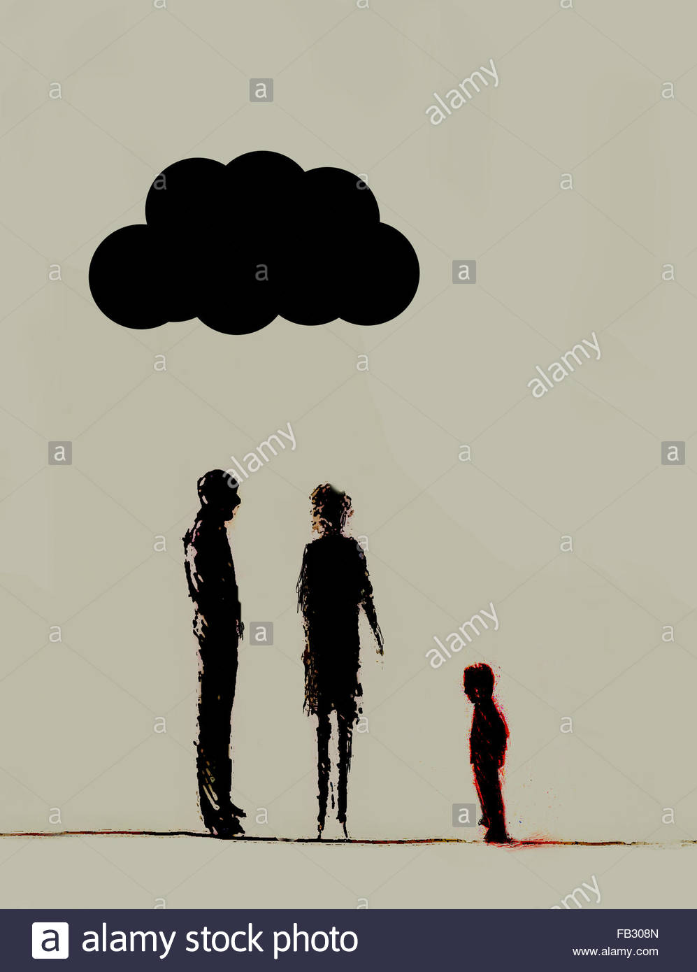 Storm cloud over parents looking at child - Stock Image