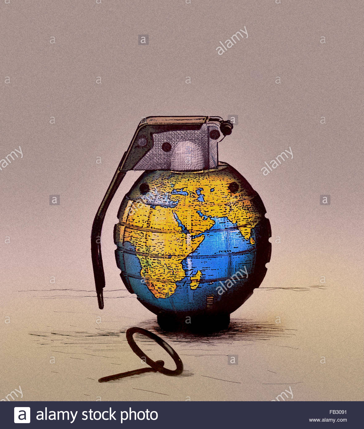 Pin pulled on globe grenade - Stock Image
