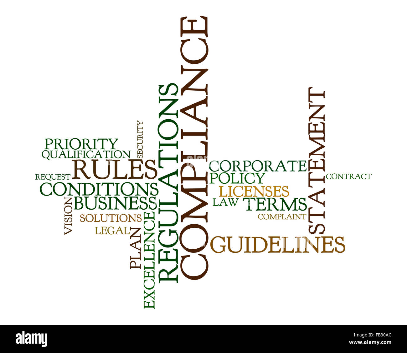 Word cloud for compliance, rules and regulations - Stock Image