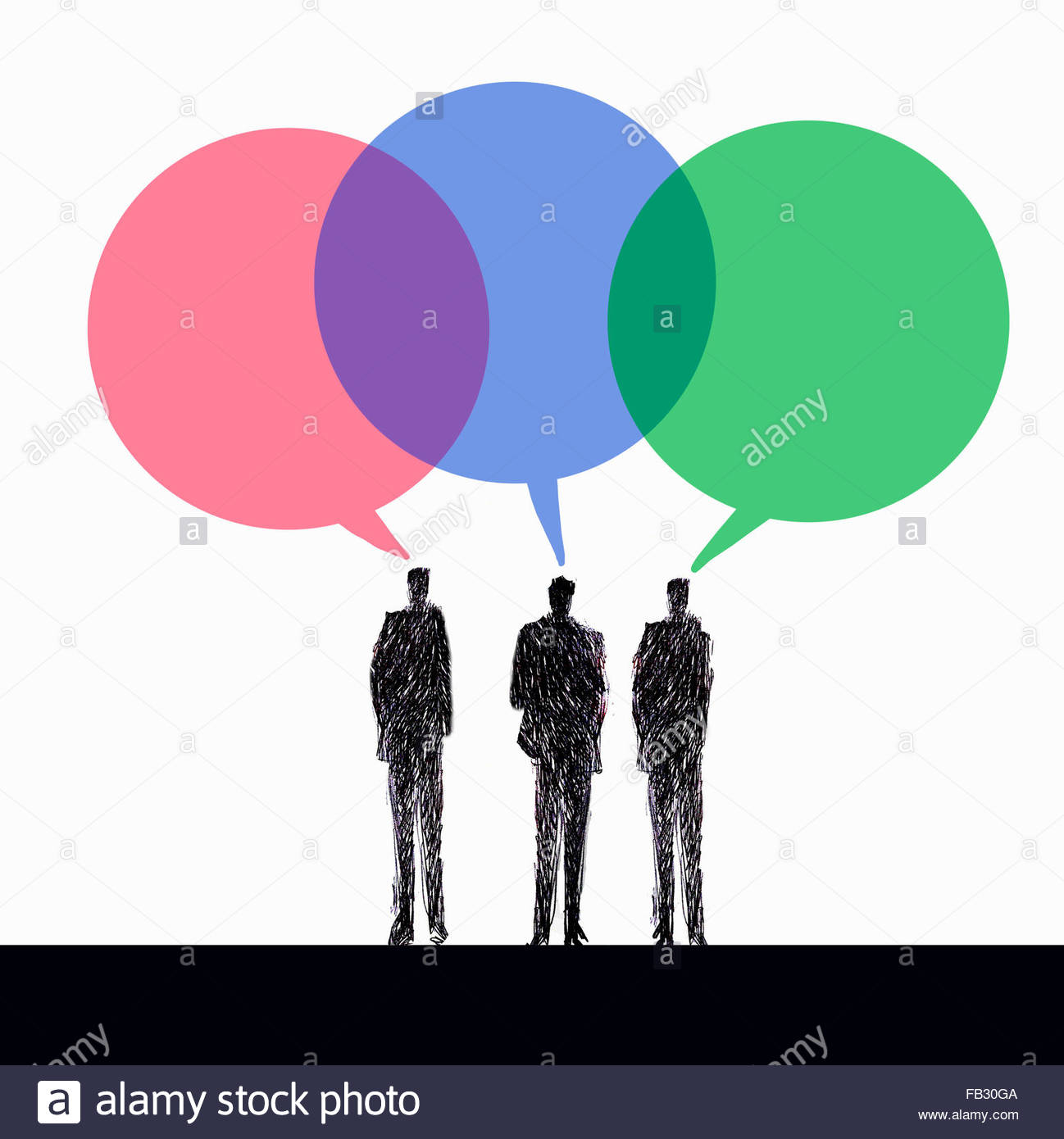 Businessmen discussing ideas in multicolored speech bubbles Stock Photo