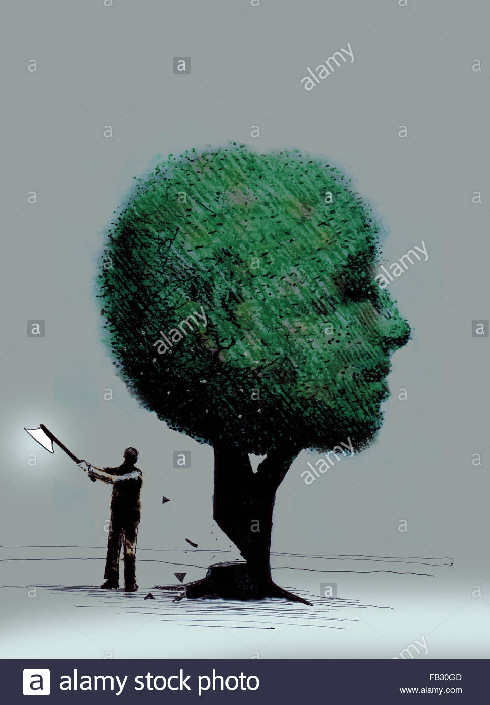 Man chopping down anthropomorphic face tree - Stock Image