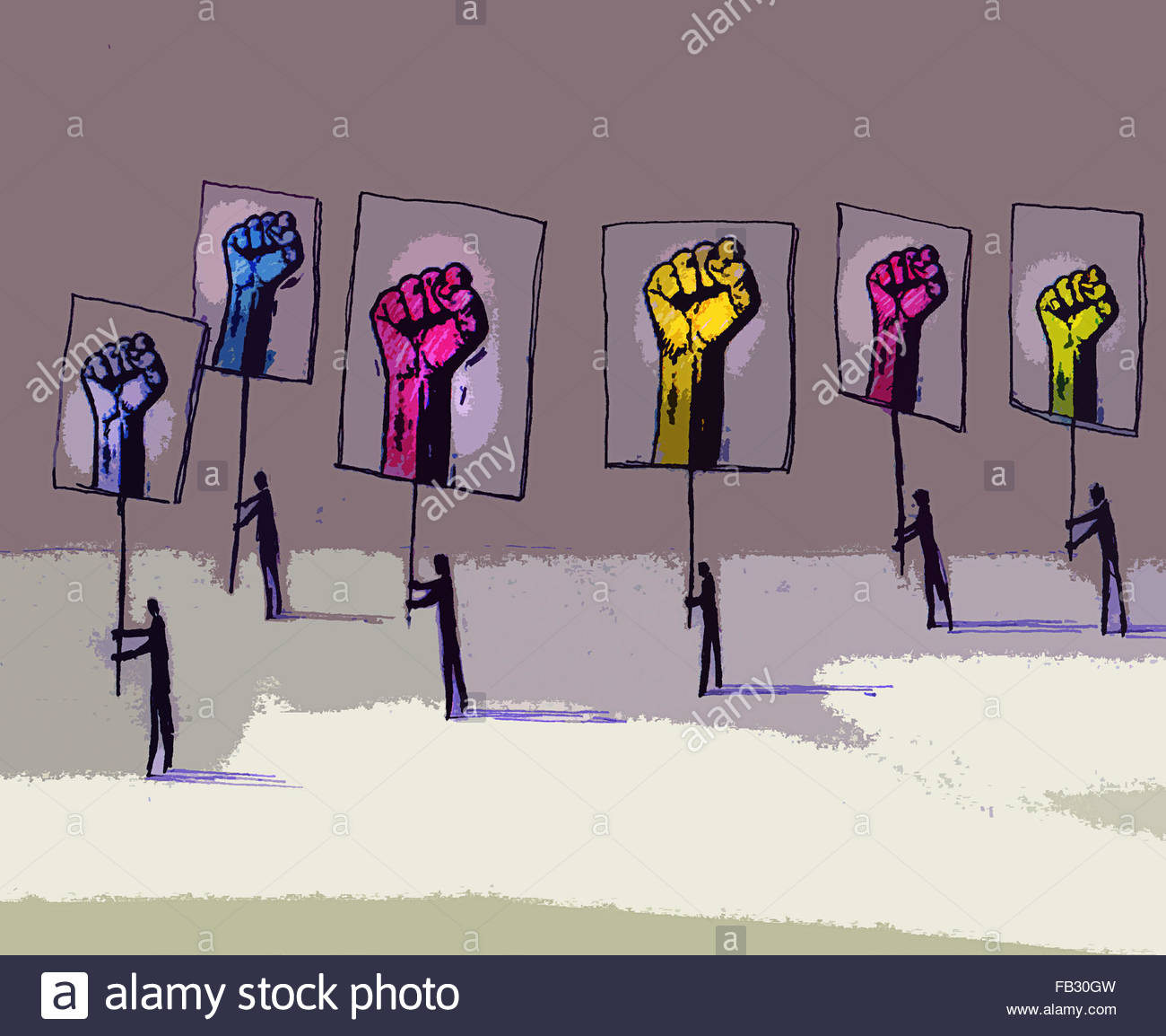 Protesters carrying placards of clenched fists - Stock Image