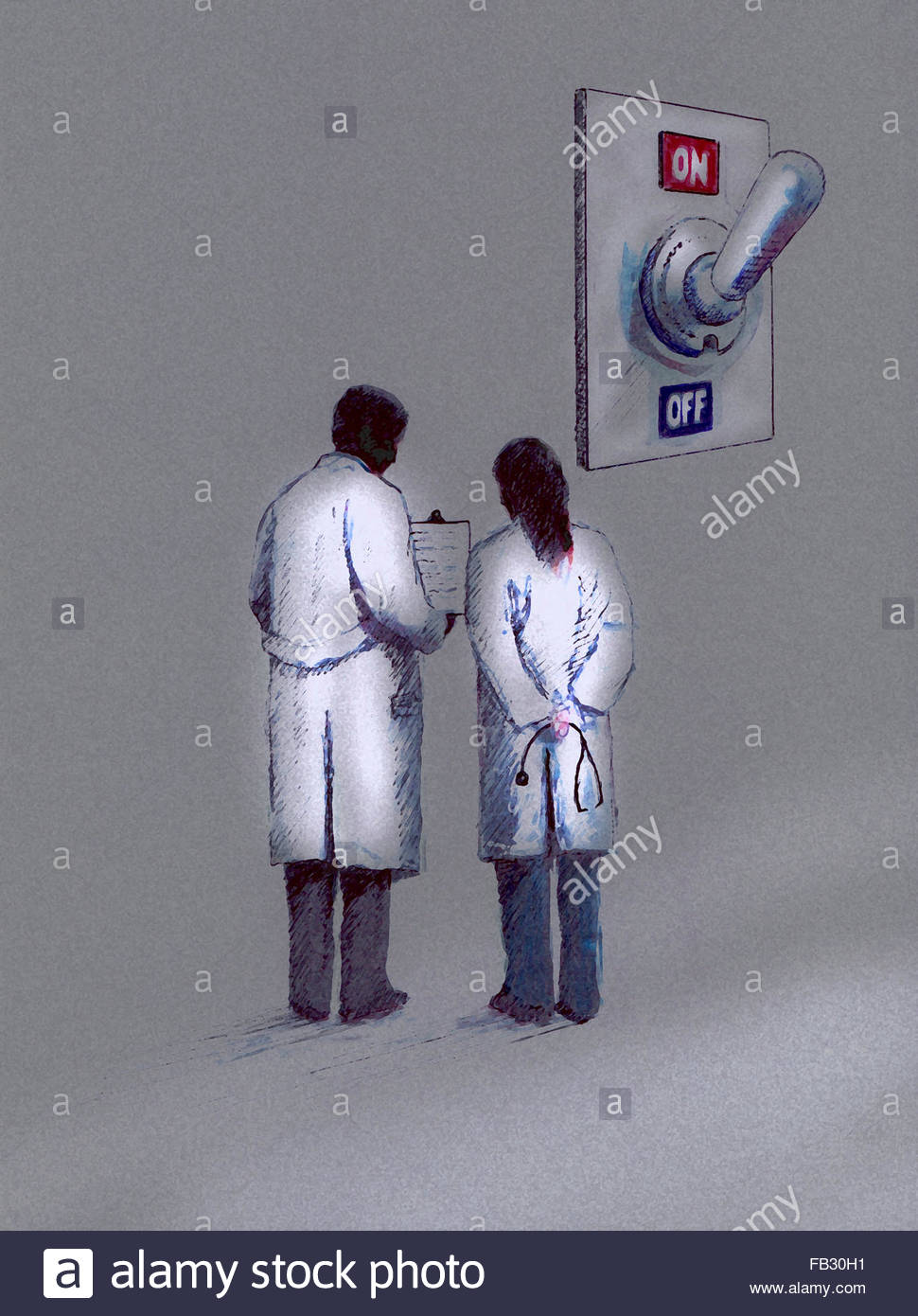 Doctors discussing clipboard notes in front of large on off switch - Stock Image