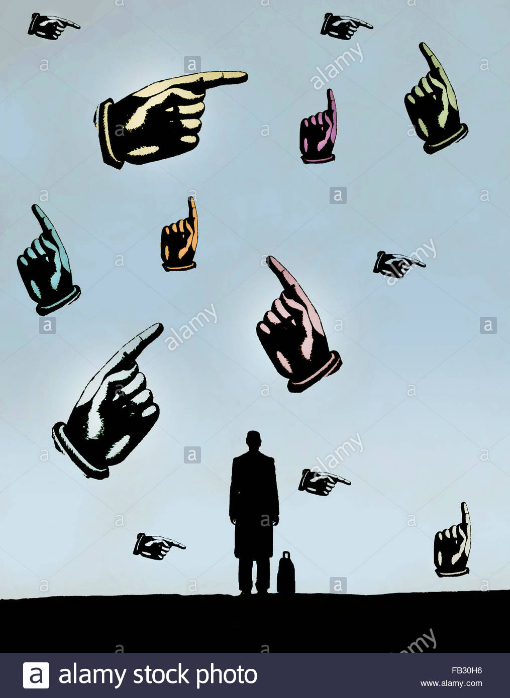 Businessman looking at lots of hands pointing in different directions - Stock Image