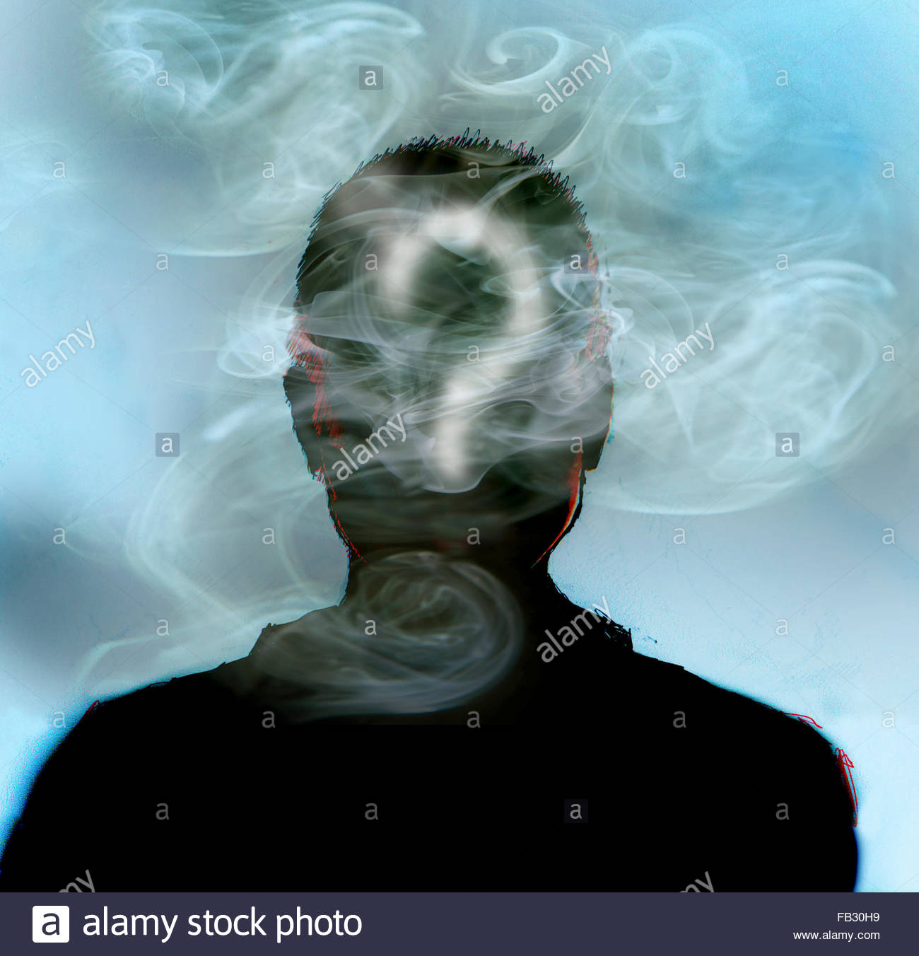 Man smoking with question mark in smoke covering head - Stock Image