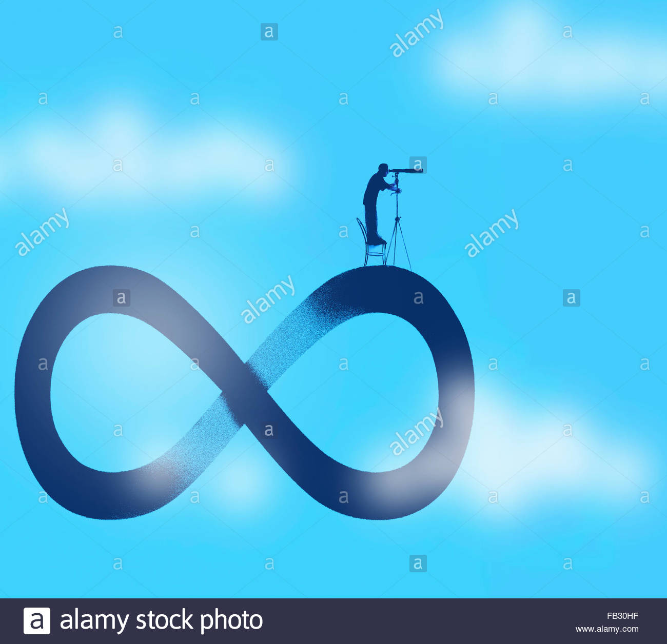 Man looking through telescope standing on top of infinity symbol - Stock Image