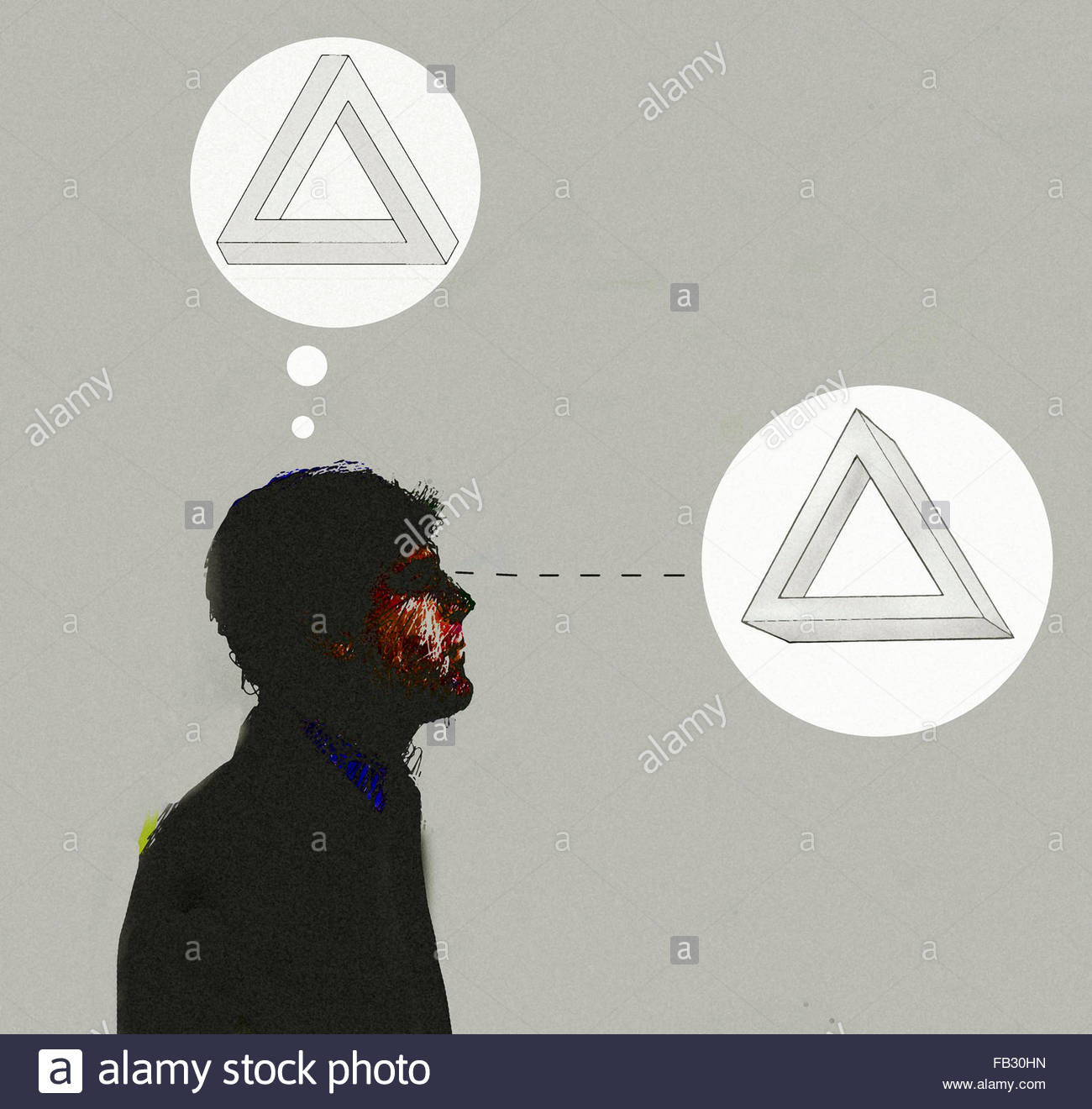 Man looking at three dimensional triangle and thinking of optical illusion - Stock Image