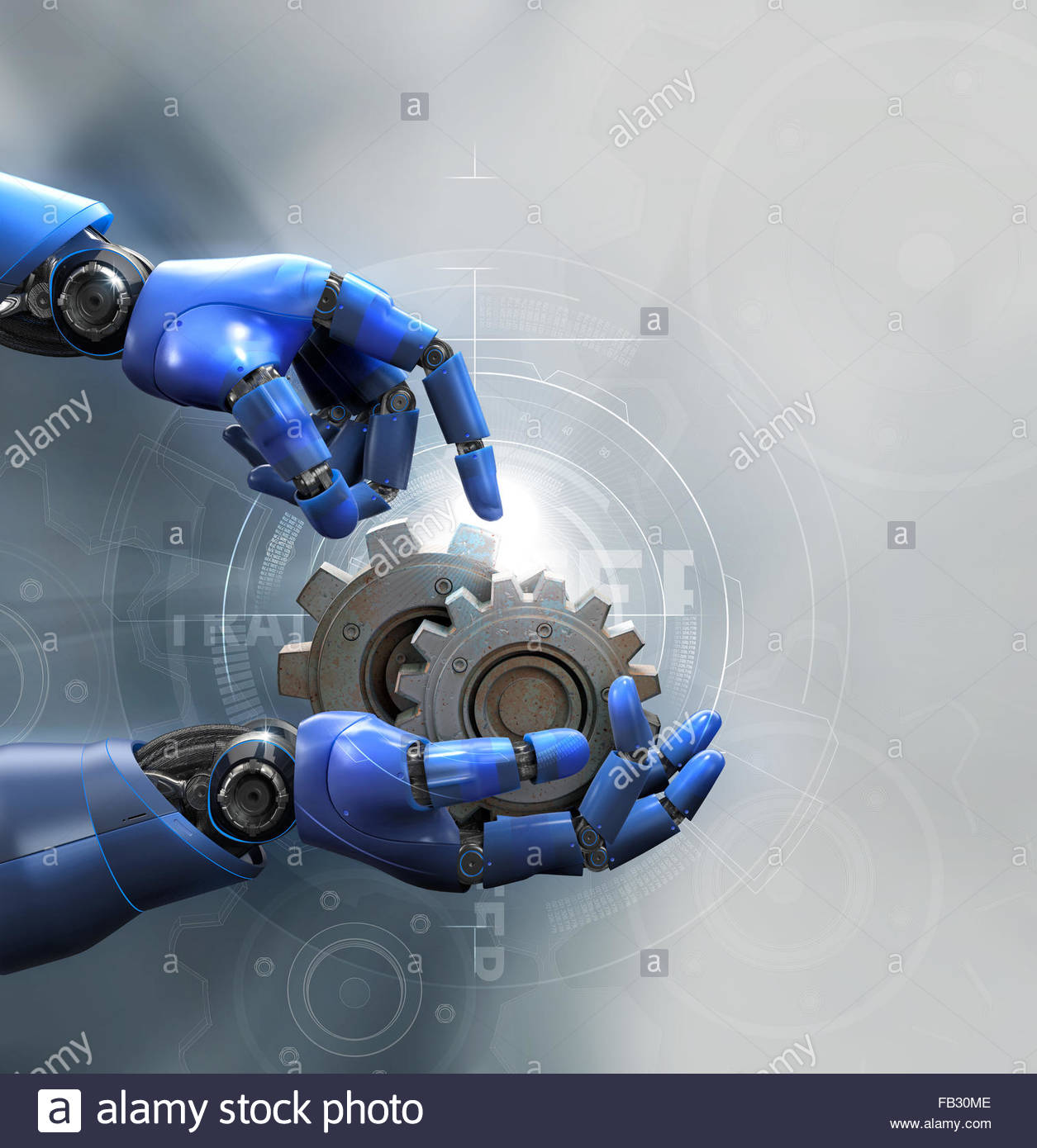 Robotic arms holding metal cogs over diagram - Stock Image