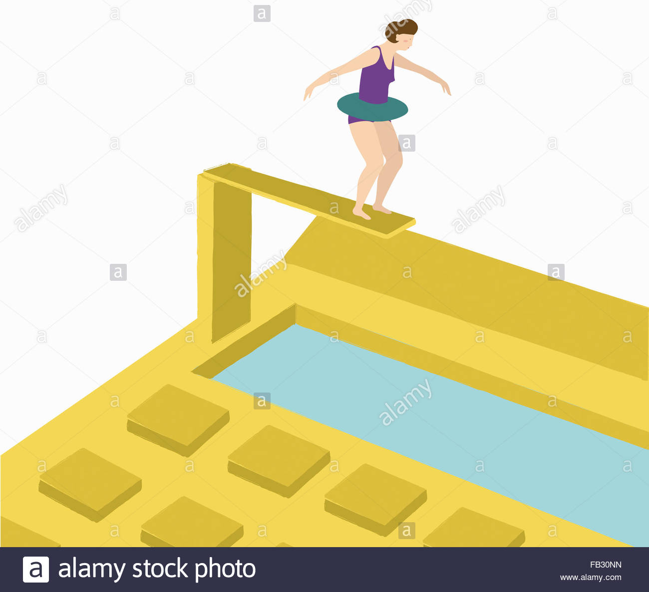 Woman wearing rubber ring on diving board above calculator - Stock Image