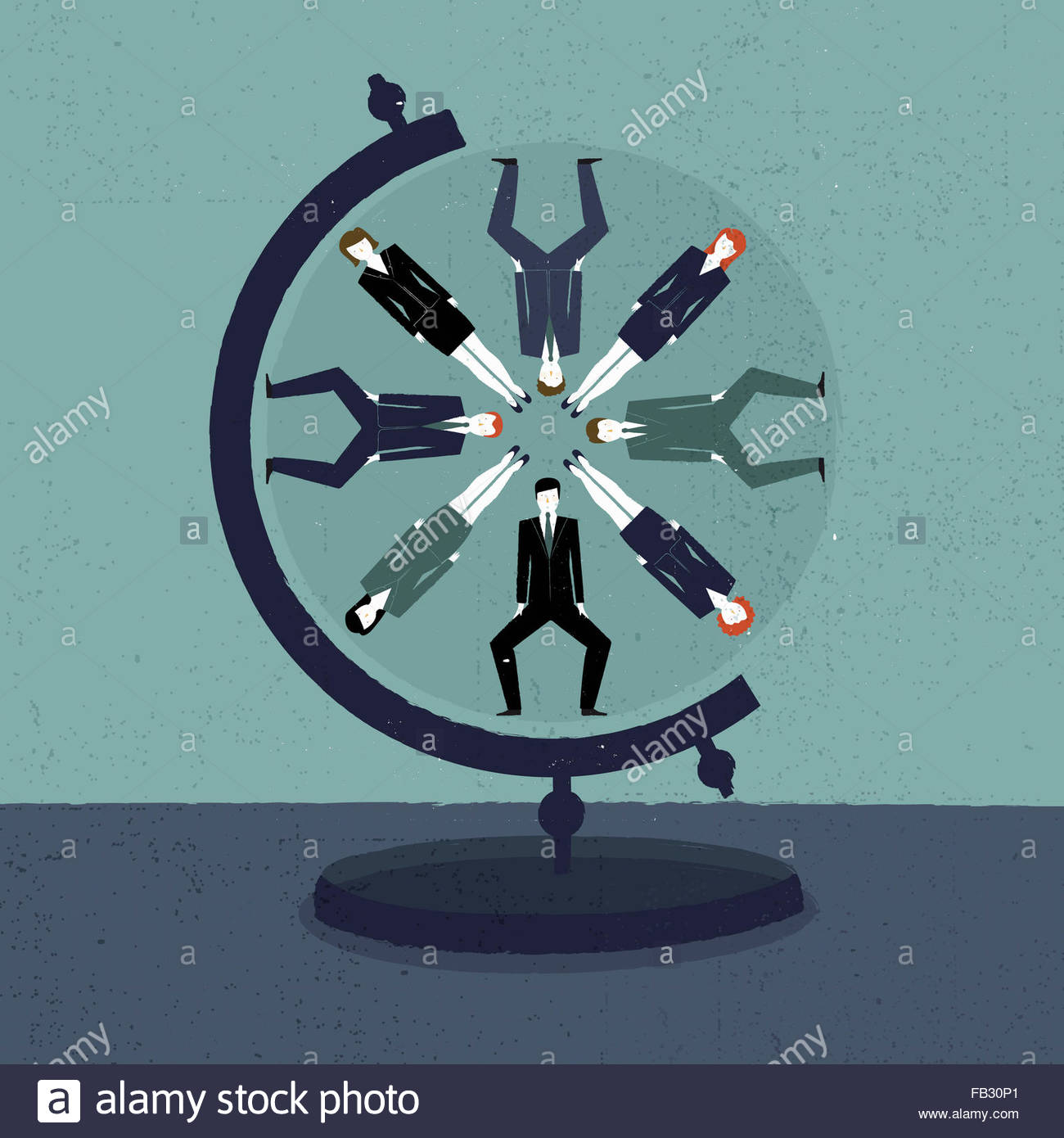Businessmen and businesswomen in circle pattern on globe - Stock Image