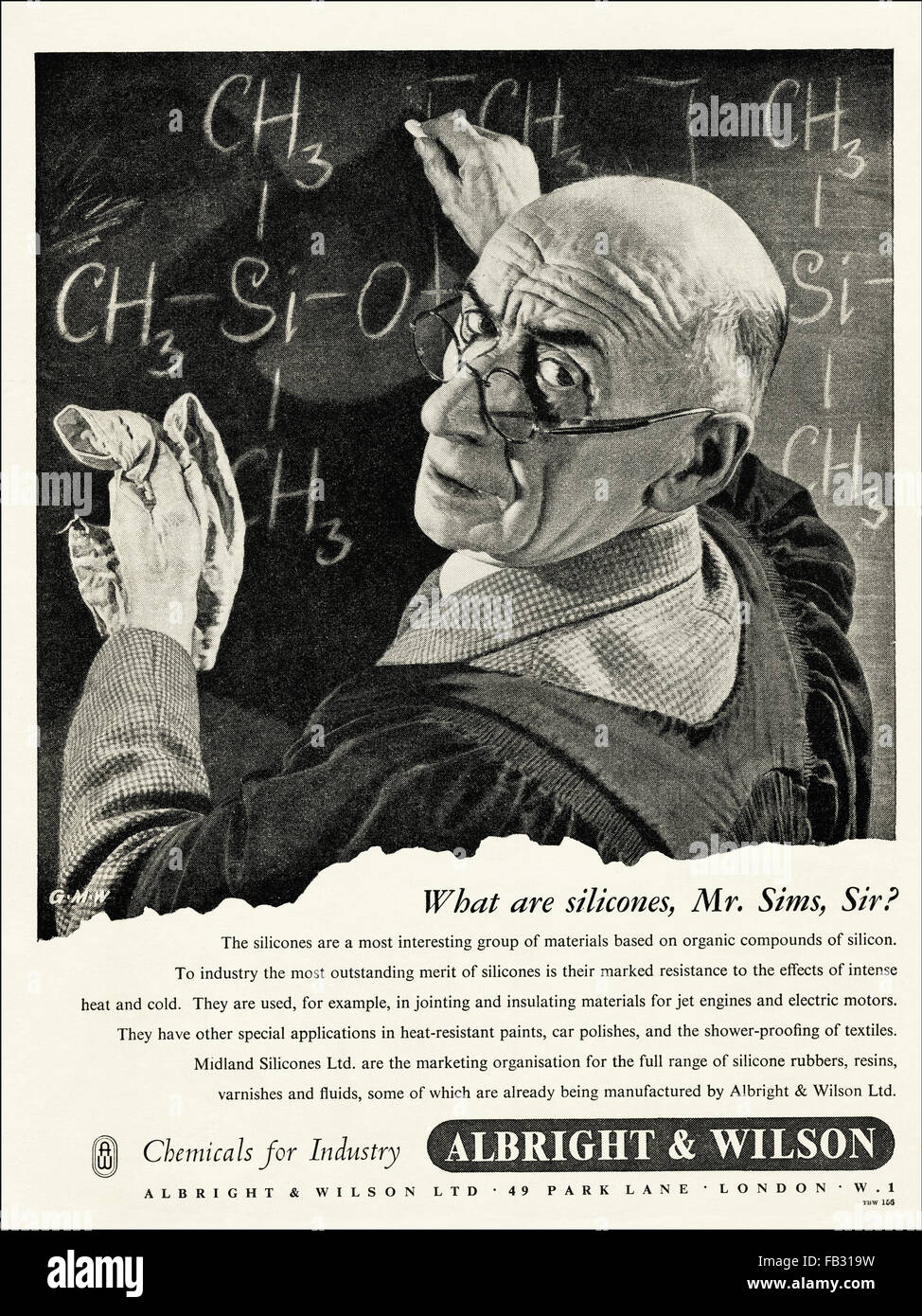 Original full page vintage advert from 1950s. Advertisements from 1953 advertising Albright & Wilson chemicals - Stock Image