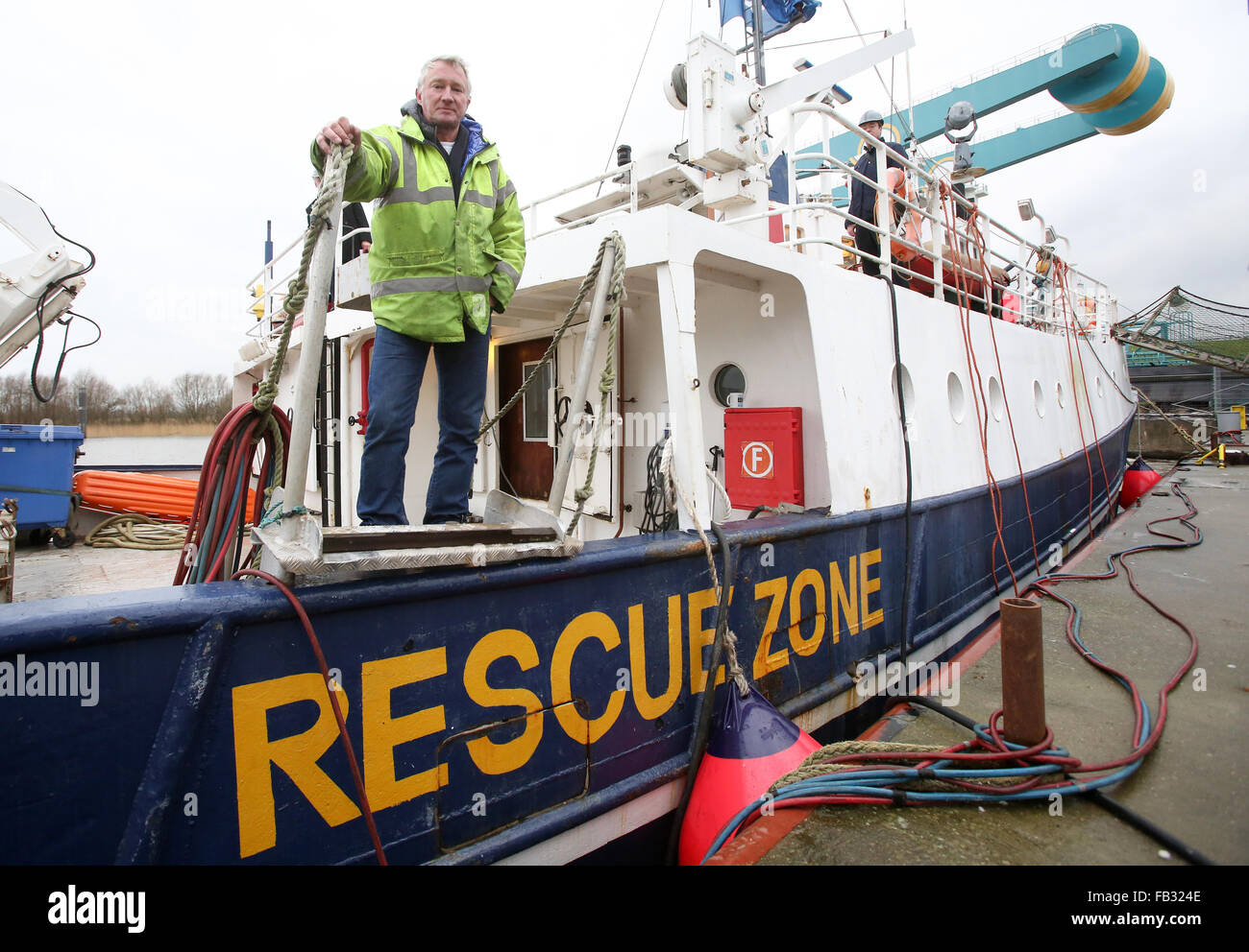 Hamburg, Germany. 08th Jan, 2016. Sea Watch Skipper Ingo Werth on the former research vessel 'Clupea', which - Stock Image