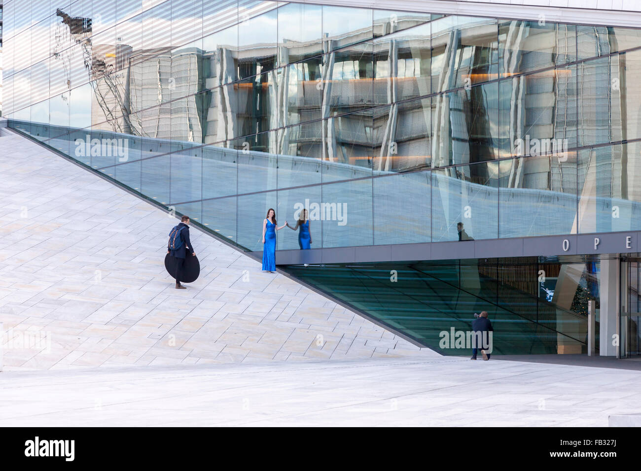 Fashion shoot at The Oslo Opera House, the home of The Norwegian National Opera and Ballet, and the national opera Stock Photo