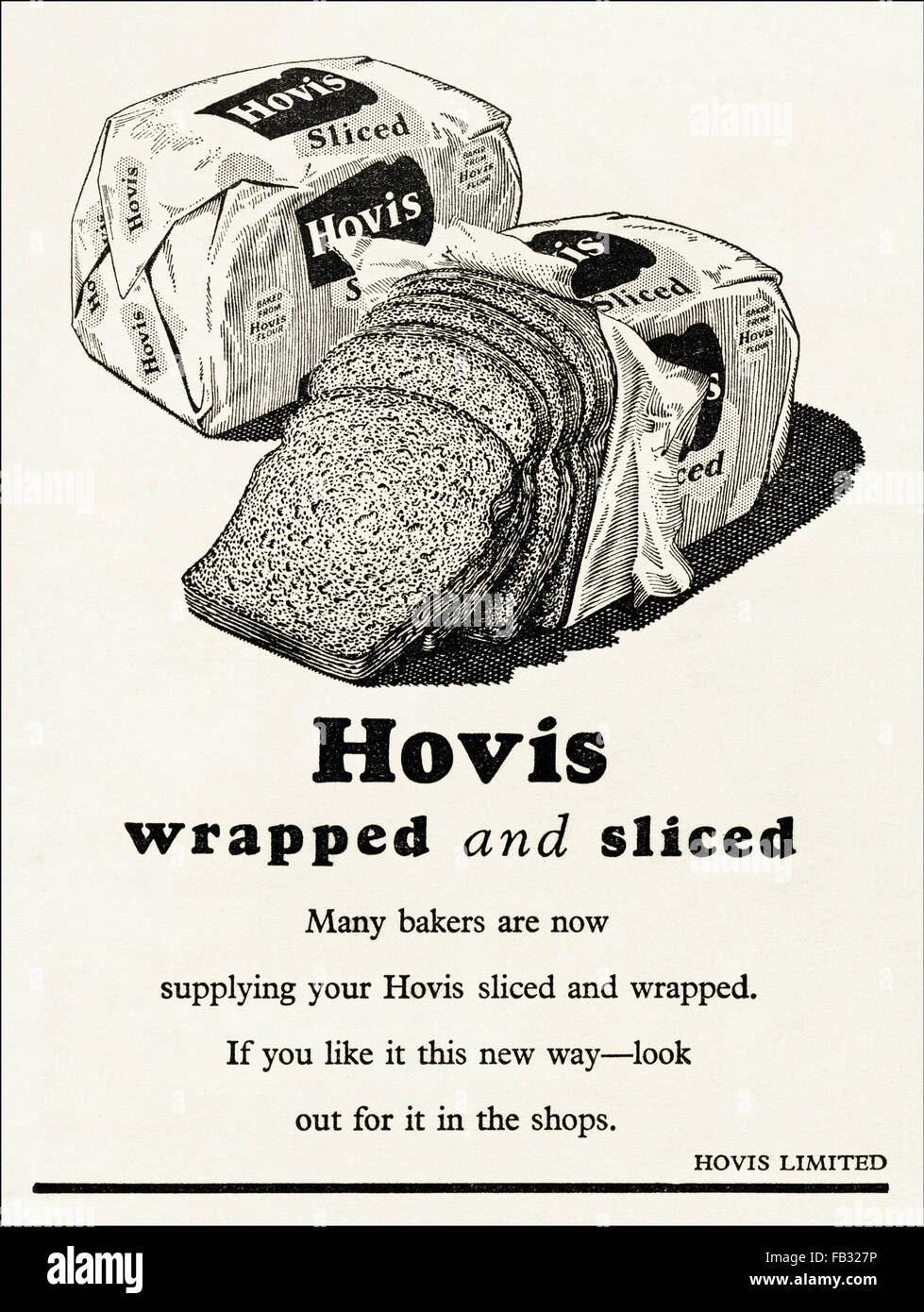 Original vintage advert from 1950s. Advertisement from 1953 advertising Hovis wrapped & sliced bread. 50s retro - Stock Image