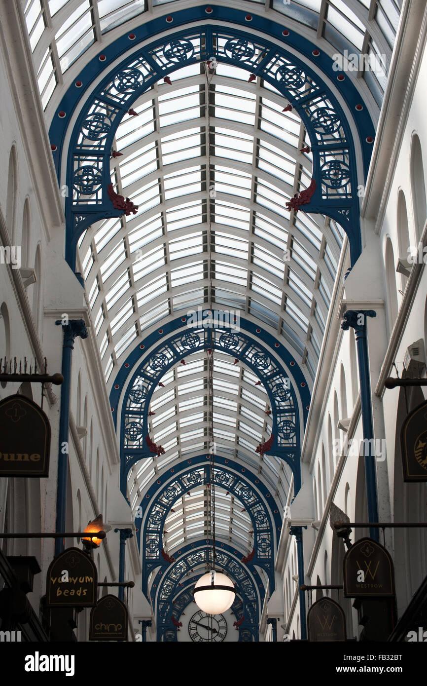 Ceiling of Thornton's Arcade, Briggate, Leeds, West Yorkshire, England, UK. - Stock Image