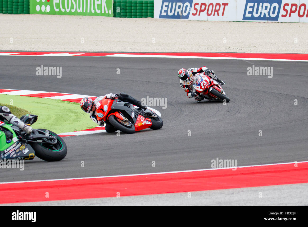 Misano Adriatico, Italy - June 20, 2015: Ducati 1199 Panigale R of Althea Racing Team, driven by SALVADORI Luca Stock Photo