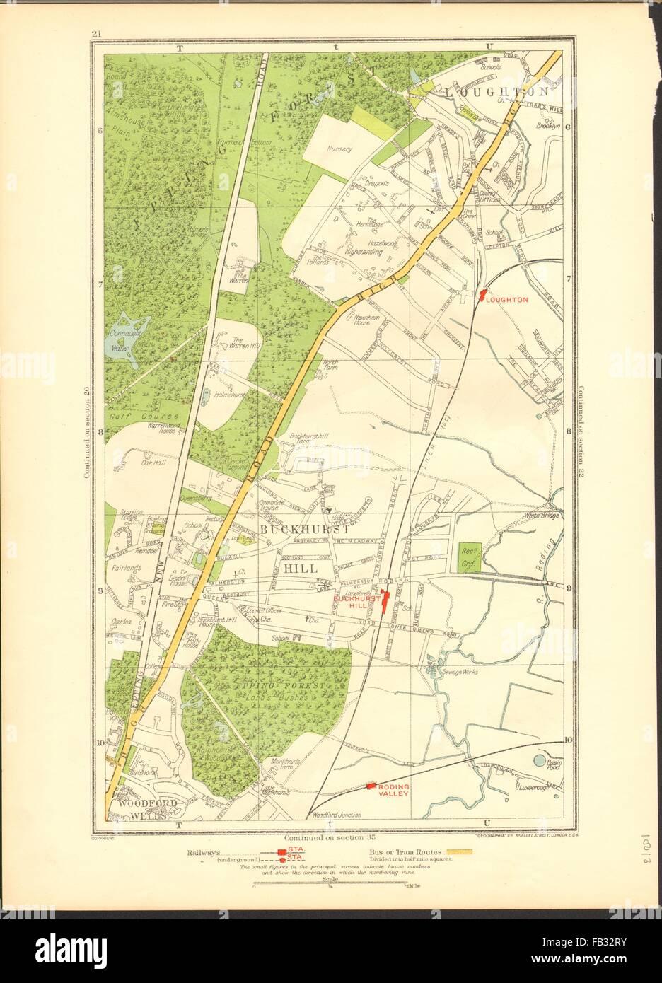 Essex Art Prints Buckhurst Hill Loughton Woodford Wells Roding Valley 1937 Old Map