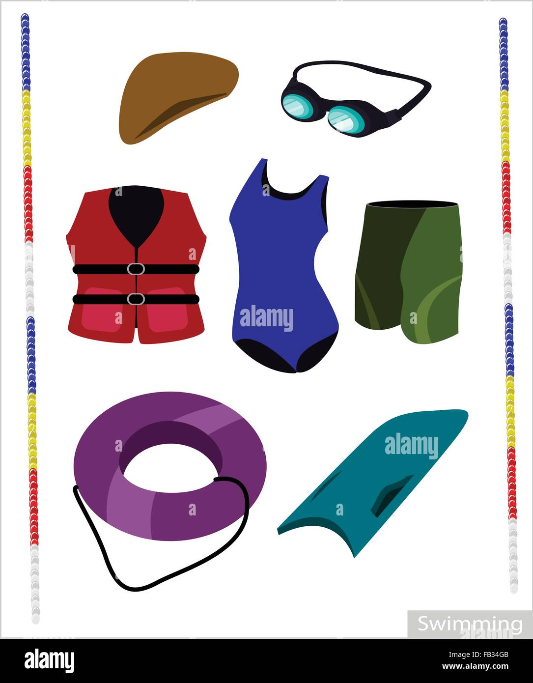 Illustration Collection of Swimming Accessory for Swimming ...