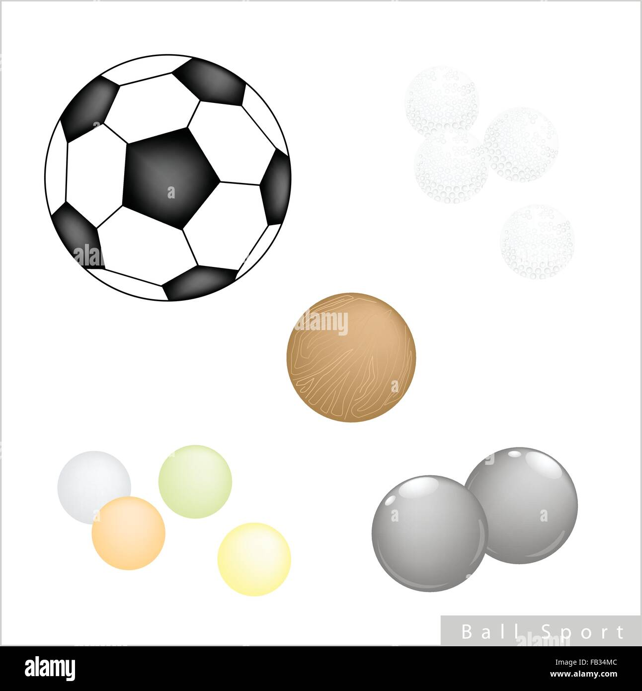 sport items illustration collection of 5 assorted balls football golf FB34MC sport items, illustration collection of 5 assorted balls, football