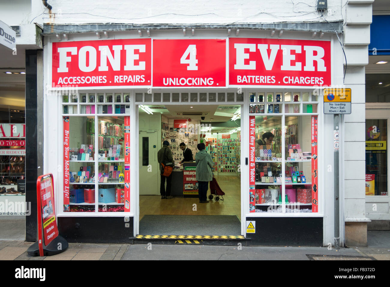 The Fone 4 Ever mobile phone shop in Cambridge UK - Stock Image