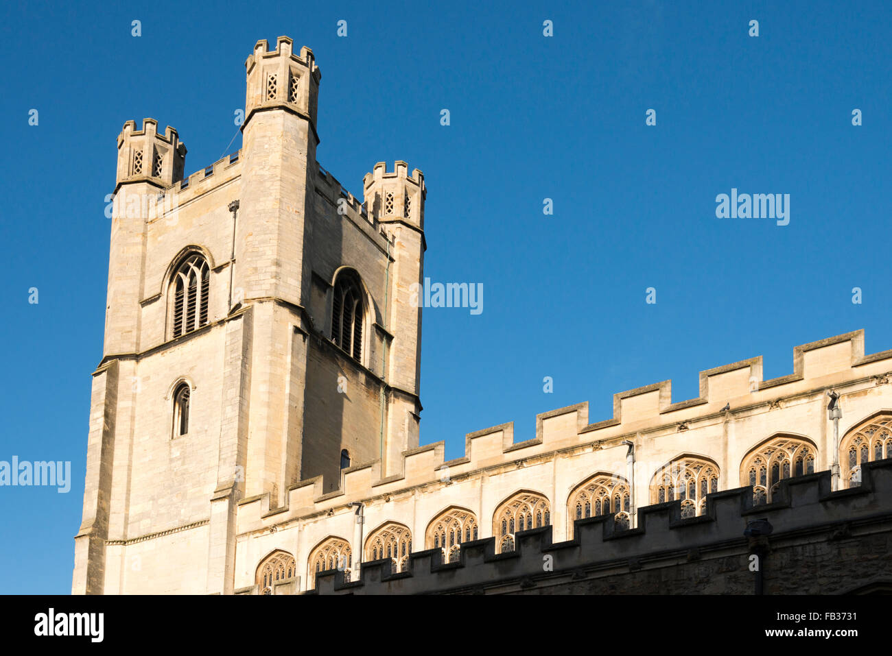 The Church tower at Great St Mary's church Cambridge UK - Stock Image
